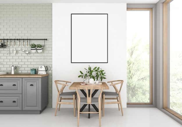 Kitchen with empty vertical frame