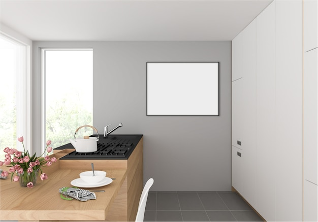 Kitchen with horizontal frame