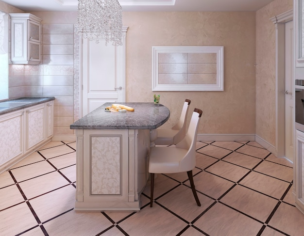 Kitchen with island bar in avantgarde style