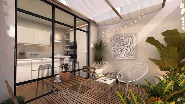 モロッコ風のインテリアパティオに大きな窓を備えたキッチン Premium写真