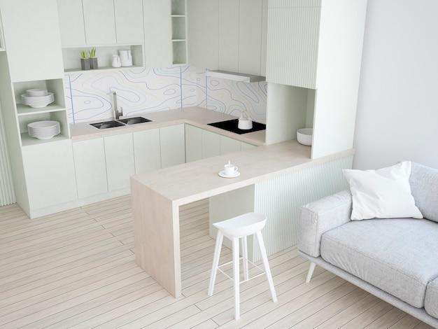 Кухня с пастельно-зеленой мебелью и обоями терраццо