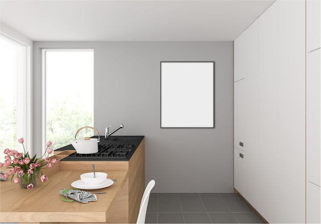 Kitchen with vertical photo frame hanging in wall