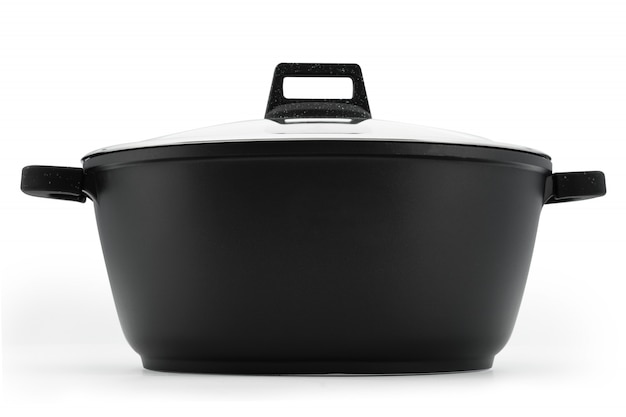 Kitchenware cauldron cauldron black metal glass lid isolate on a white background.