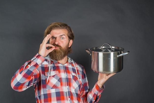 Кухонная посуда инструменты для приготовления пищи кухня реклама бородатый мужчина с горшком человек шеф-повар с горшком кулинария кулинария