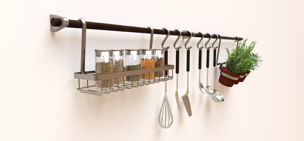 На стене висят кухонные принадлежности, насыпные и живые приправы в горшочках. 3d рендеринг.