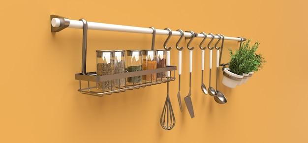 На стене висят кухонные принадлежности, сыпучие и живые приправы в горшочках.