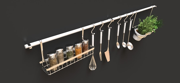 Kitchenware, dry bulk and live seasonings in pots hang on the wall. 3d rendering.