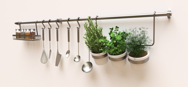 Kitchenware, dry bulk and live seasonings in pots hang on the wall