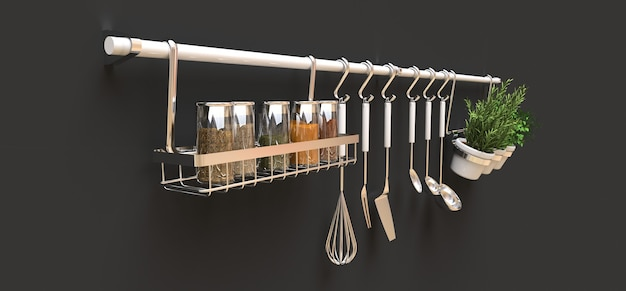 Kitchenware and seasonings in pots hang on the wall 3d rendering