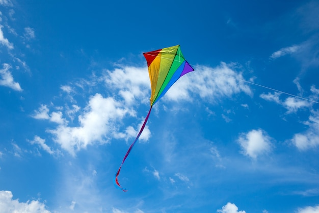 Kite flying in the sky among the clouds