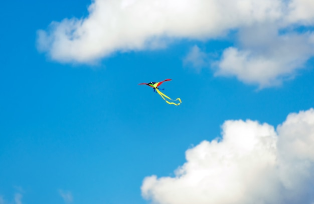 Kite flying in the sky, fun and exciting for children