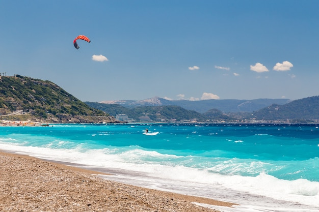Kite surfer in the sea