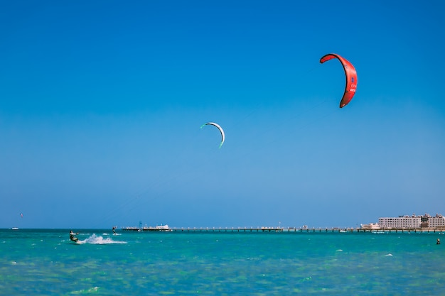Kites in the blue sky over red sea.