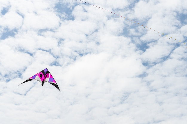 Kites flying in the sky among the clouds.kite festival