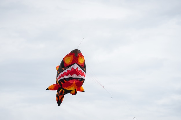 Kites flying in the sky among the clouds.