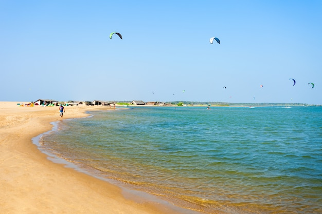 Kitesurfers at kalpitiya beach