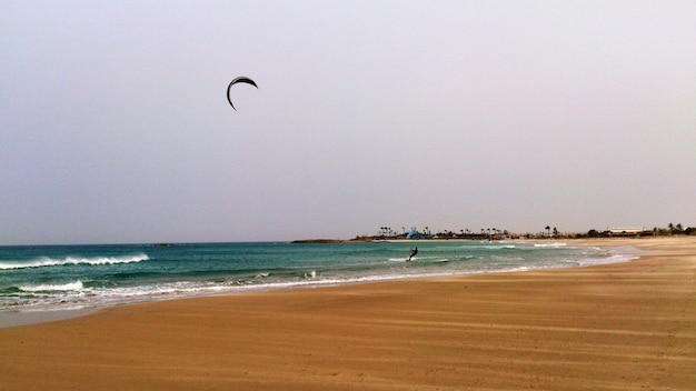 Kiting on the beach of atlit. israel