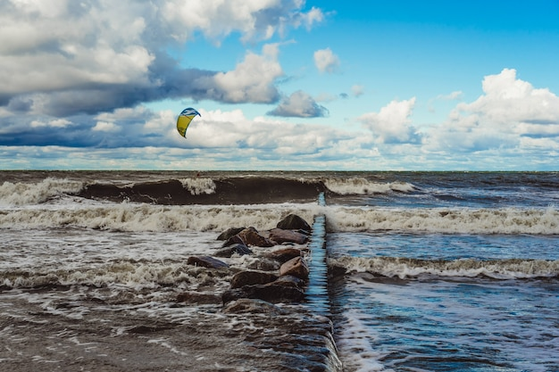 Kiting on the cold baltic sea
