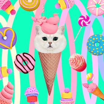 Kitty candy lover. contemporary art collage. funny fast food project