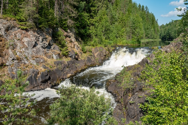 Kivach falls in the late summer, karelia