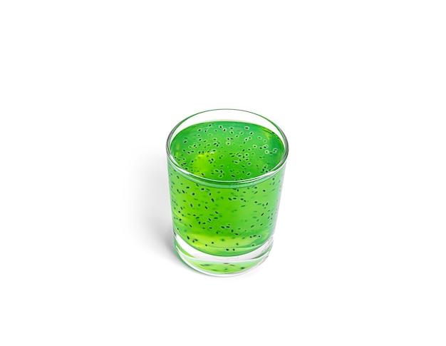 Kiwi drink with basil seeds isolated on white background. green kiwi smoothie. high quality photo