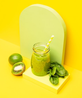 Kiwi fresh smoothie in jar