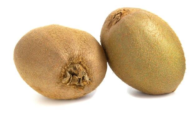 Kiwi fruit close up, fruit isolated on white background.