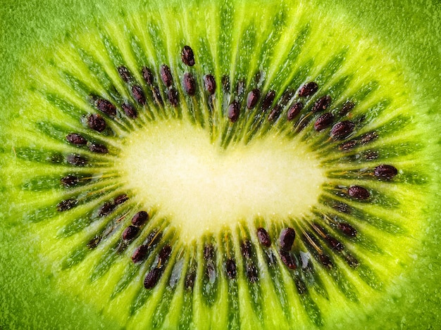 Kiwi fruit core shaped as heart
