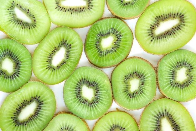 Kiwi fruit slice on white background