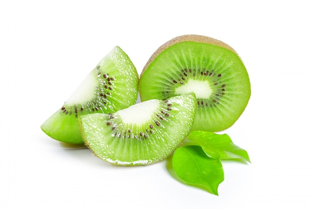 Kiwi fruits with leaves