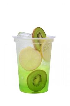 Kiwi and lemon lemonade in plastic take away glass