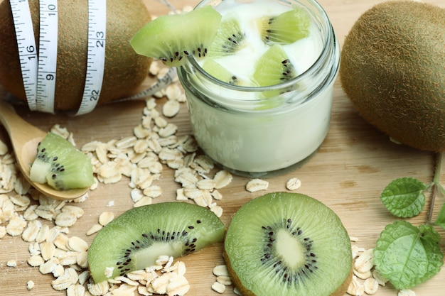 Kiwi with smoothie yogurt
