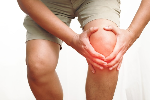 Knee pain and injury after exercise, fall, old man, knee injury man inflammation or arthritis for graphic design and poster