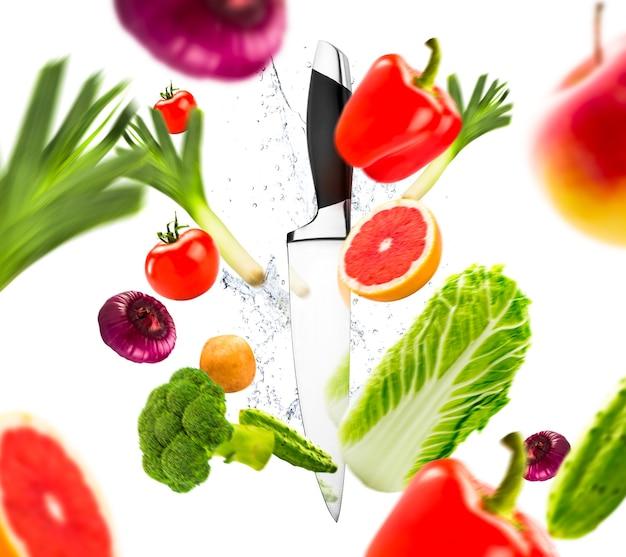 ナイフと新鮮な野菜