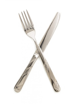 Knife and fork isolated on white
