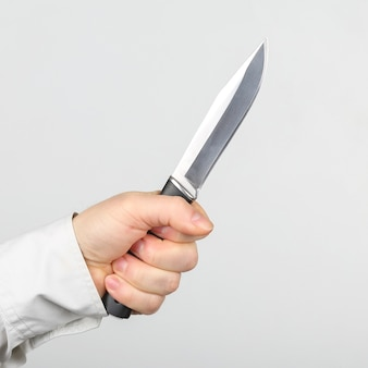 Knife in the hands of a man