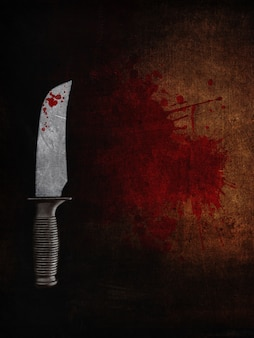Knife of a bloody scene