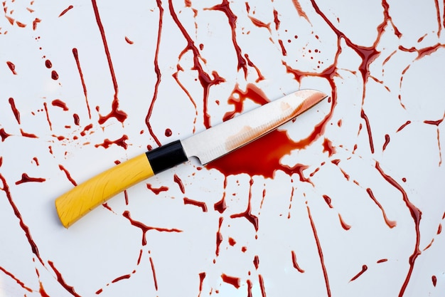Knife with blood on white background.