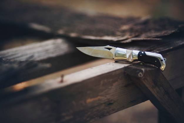 Knife on wood