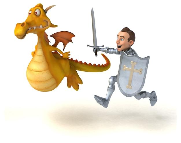 Рыцарь и дракон - изолированные 3d иллюстрации