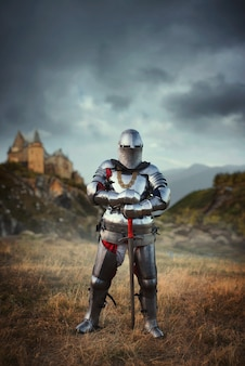 Knight in armor and helmet