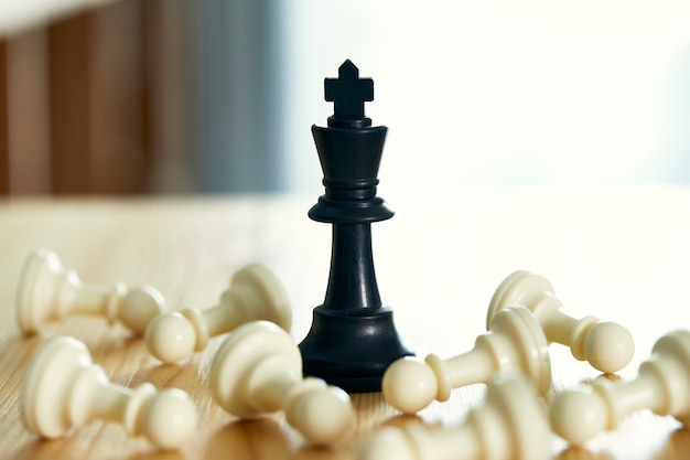 Knight of chess wins closeup