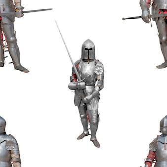 Рыцарь в блестящих металлических доспехах на белом фоне. бесшовные модели.