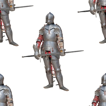 Knight in shiny metal armor. seamless pattern.
