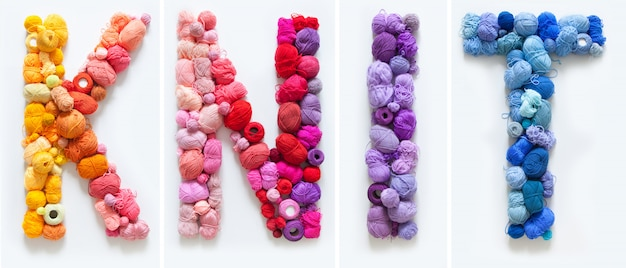 Knit word made of colorful yarn balls