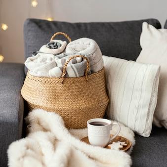 Coperte lavorate a maglia da vicino
