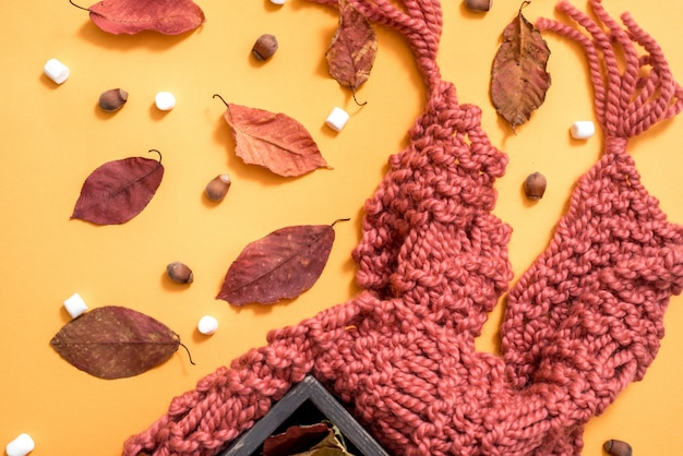 Knitted brown scarf, marshmallow, sweets, nuts, golden cones and ingredients for making mulled wine. bright dry autumn leaves on a yellow background. cozy autumn t. top view. flat lay.