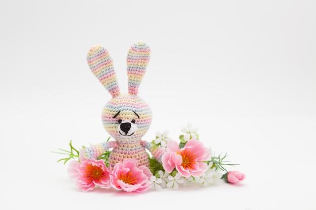 Knitted easter decor bunny, flowers, handmade, amigurumi