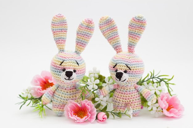 Knitted easter decor bunny, flowers, handmade, amigurumi