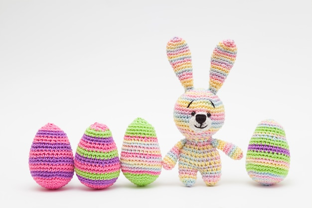 Knitted easter decor eggs, flowers , bunny. handmade, amigurumi